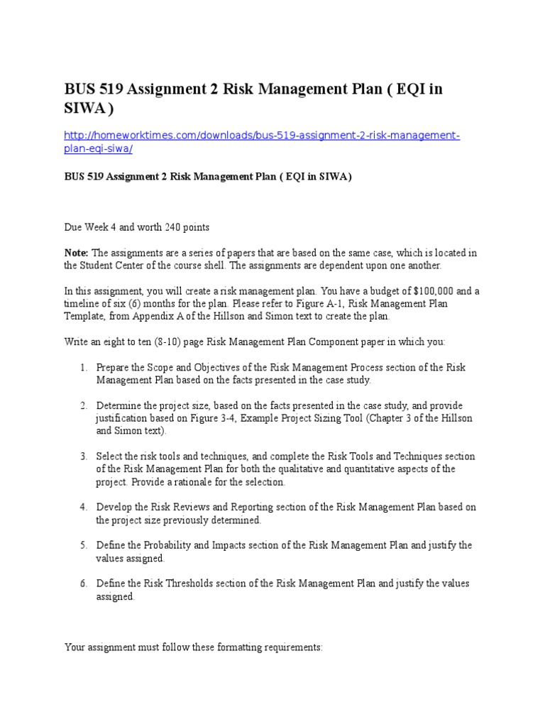 BUS 519 Assignment 2 Risk Management Plan Risk Management – Risk Management Plan Example Template