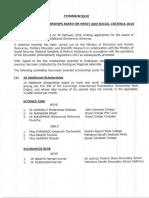 Communique- Additional Scholarships Based on Merit & Social Criteria 2016