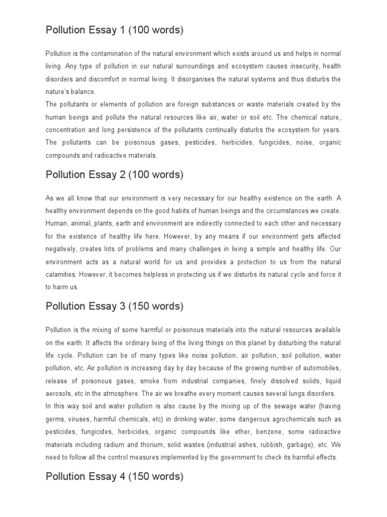 pollution essay 150 words