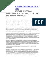 Medio Ambiente, Pueblos Indígenas y El Proyecto de Ley de Hidrocarburos