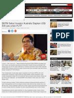 Indonesia BKPM Sebut Investor Australia Siapkan US$ 500 juta untuk PLTP