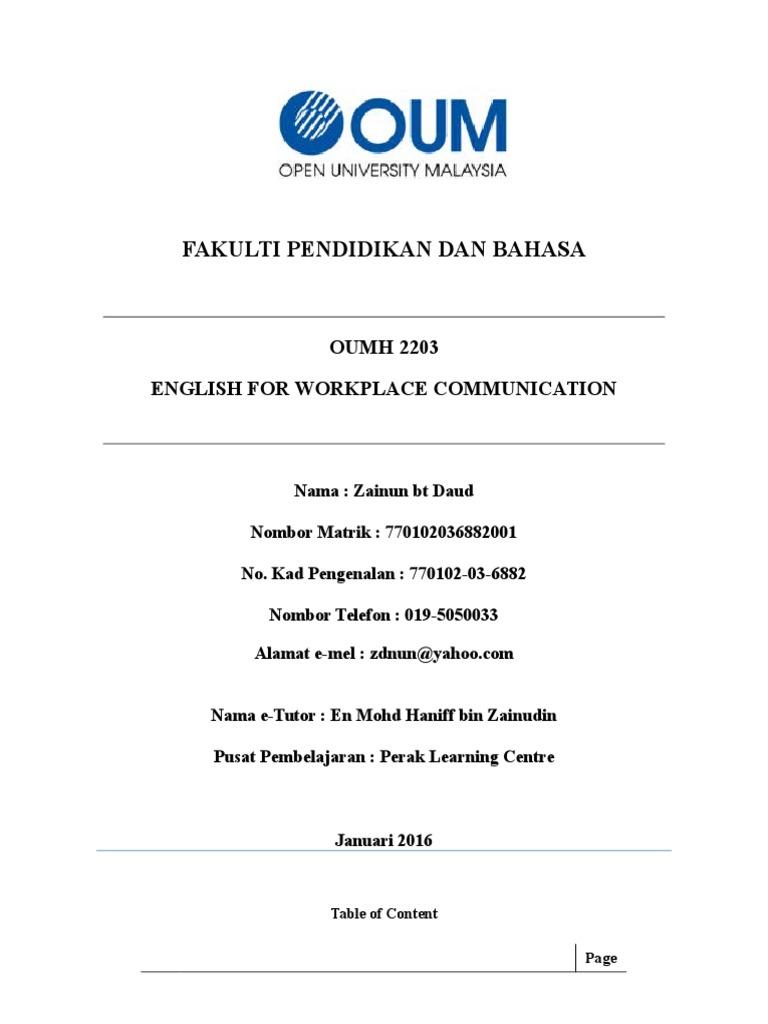 Zainun Daud 770102036882001 English Nonverbal Communication First Language