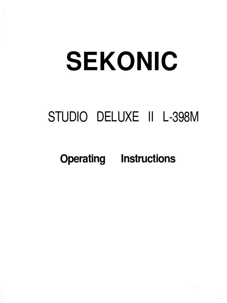 SEKONIC STUDIO DELUXE II L-398M Light Meter Instruction