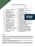 Sleep Disorder Screening Questionnaire