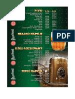 Nápojový lístok Miki Bar Prievidza