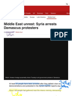 middle east unrest  syria arrests damascus protesters - bbc news