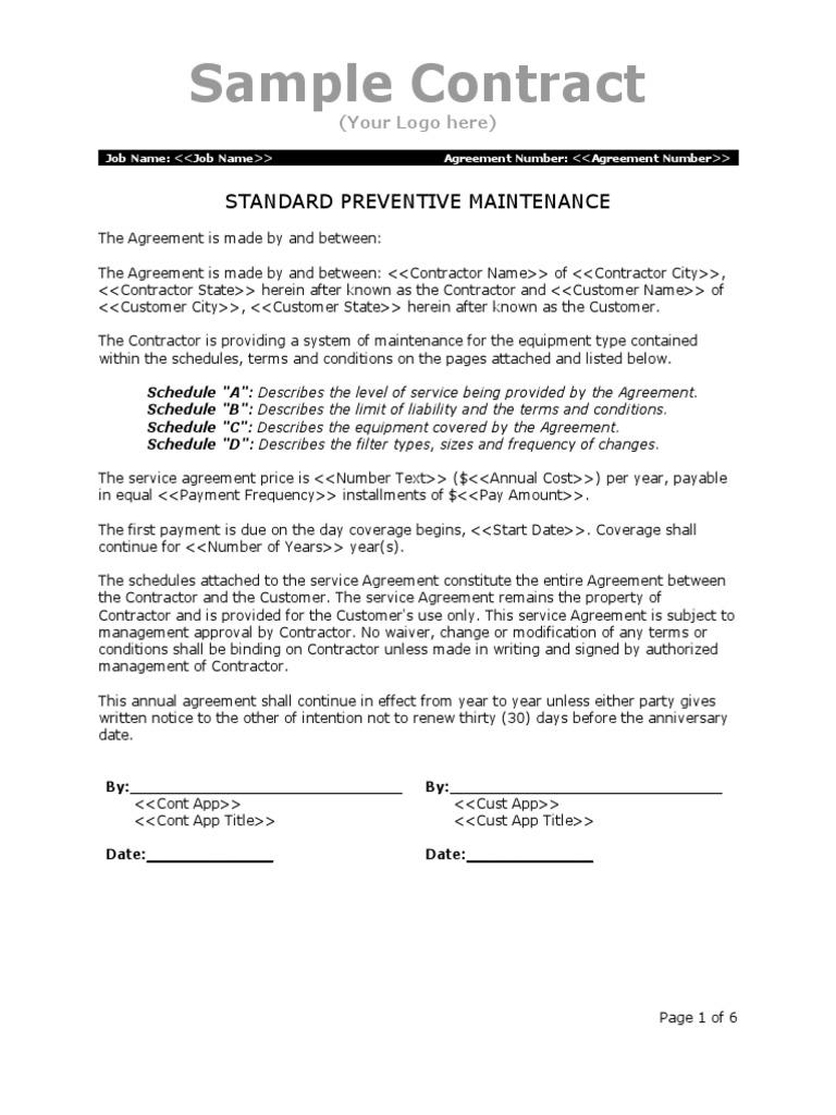 Sample Preventive Maintenance Agreement General Contractor