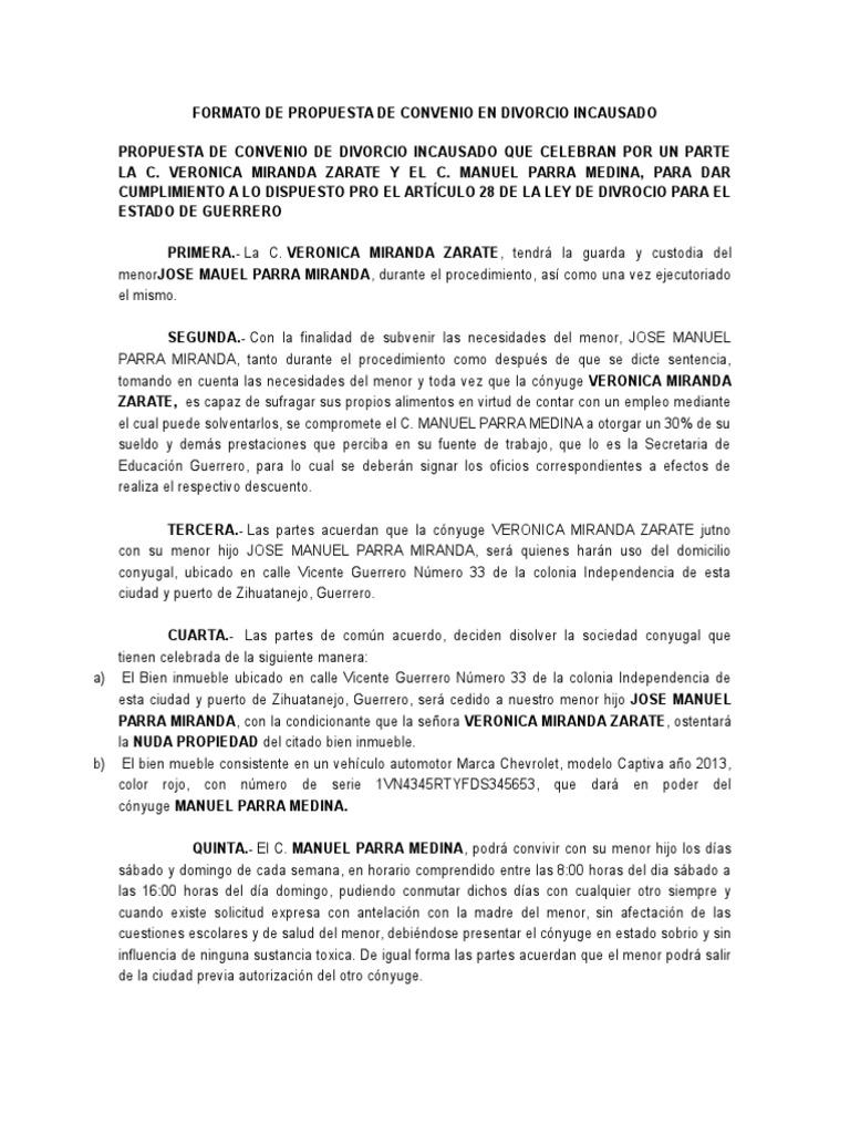 Vistoso Plantilla Para El Acuerdo De Divorcio Cresta - Ejemplo De ...