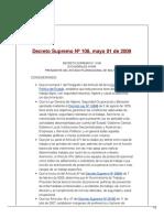Decreto Supremo Nº 108, Mayo 01 de 2009