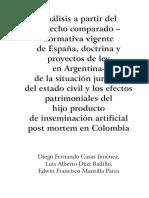 Derecho Comparado Inseminacion Post Mortem -Colombia, Argentina, España