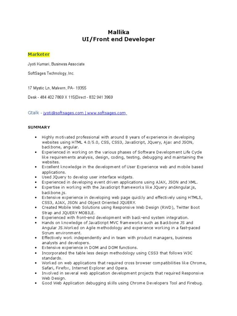 resume mallika ui developer
