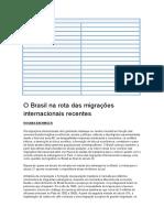 O Brasil Na Rota Das Migrações Internacionais Recentes