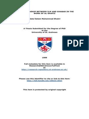 AbdulSalamMuhammadShukriPhDThesis ENG pdf Hadith