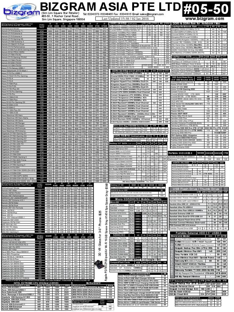 Bizgram 2nd January 2016 Pricelist.pdf | Computer Hardware | Digital &  Social Media