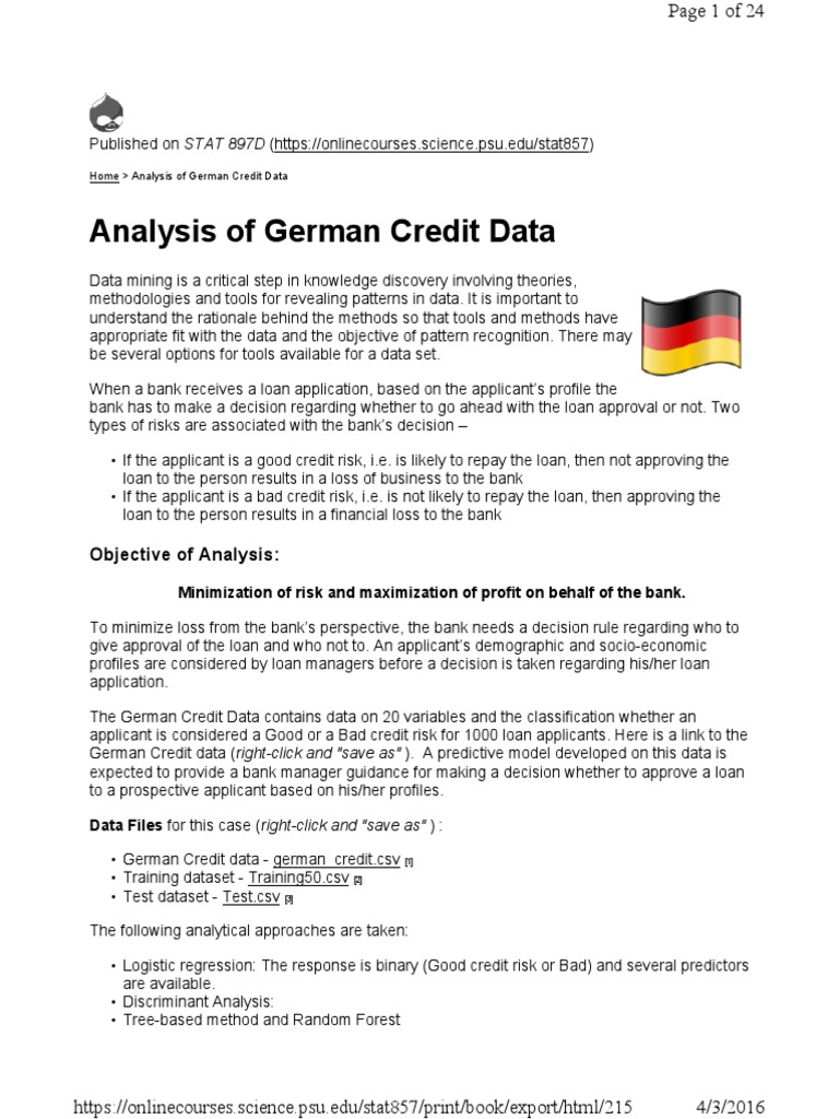 Analysis of German Credit Data | Logistic Regression | Categorical