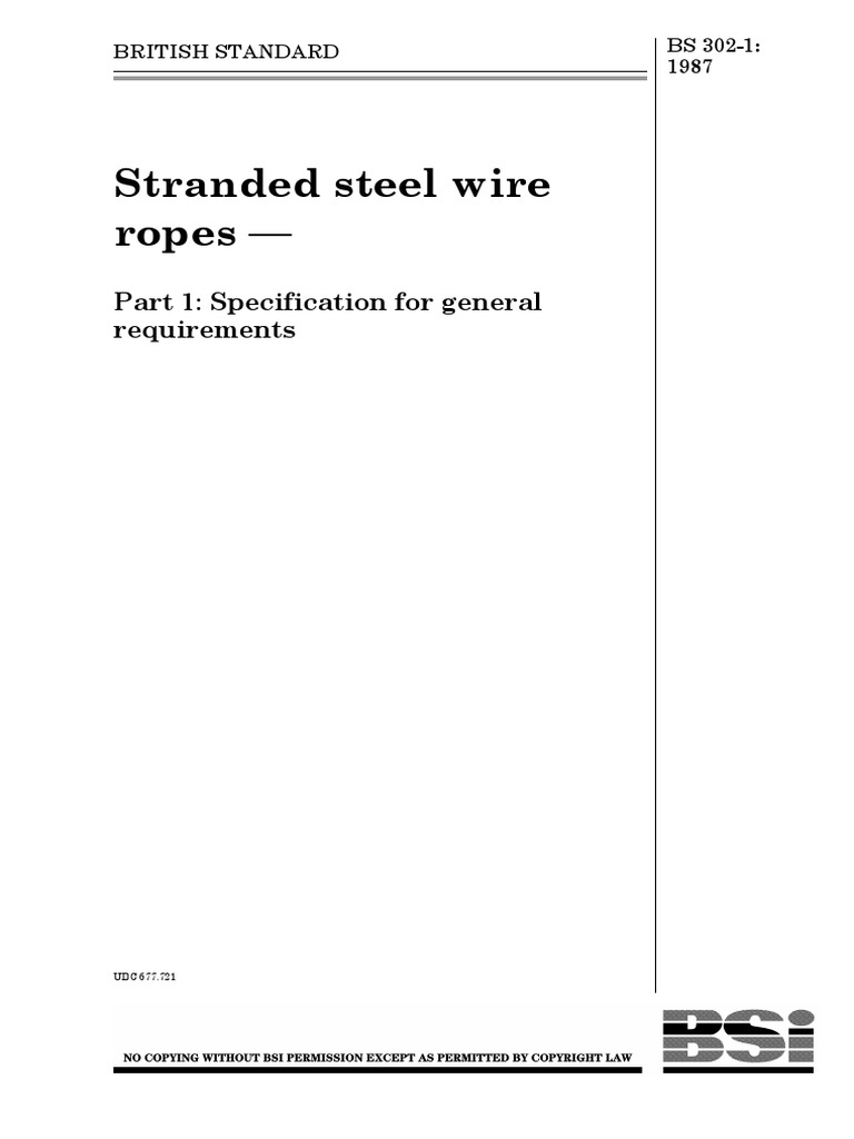 BS 302 -1-1987 Stranded Steel Wire Ropes.pdf | Rope | Wire