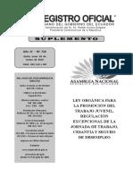 Ley Orgánica Para La Promoción Del Trabajo Juvenil, Regulación Excepcional de La Jornada de Trabajo, Cesantía y Seguro de Desempleo