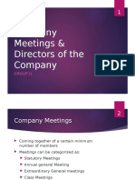 Company Meetings and Directors of the Company