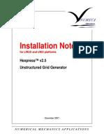 Installation Note Hexpress 25 4 UNIX-Acrov5