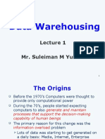 Data Warehousing Lecture 1