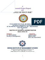 role of FDI in SME