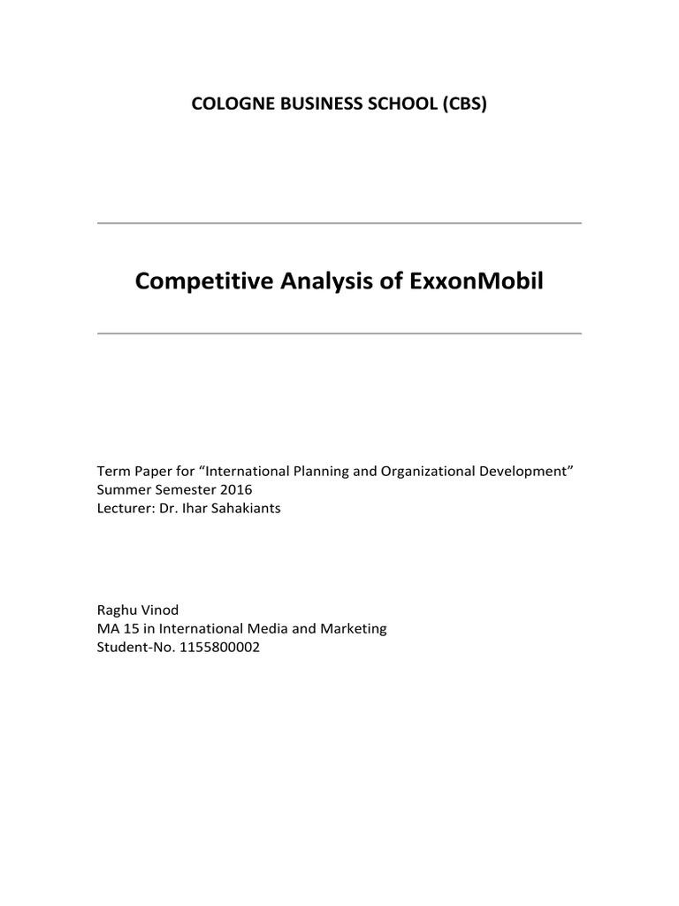 ExxonMobil Competitive Analysis | Exxon Mobil | Petrochemical