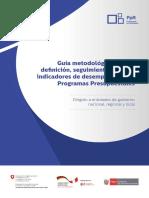 Guia metodologica para la definicion, seguimiento y uso de indicadores de desempeño de los programas presupuestales