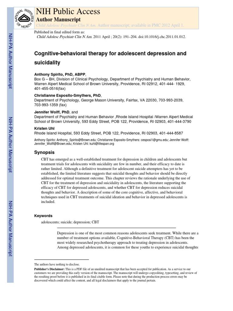nihms264132.pdf   Cognitive Behavioral Therapy   Dialectical Behavior  Therapy