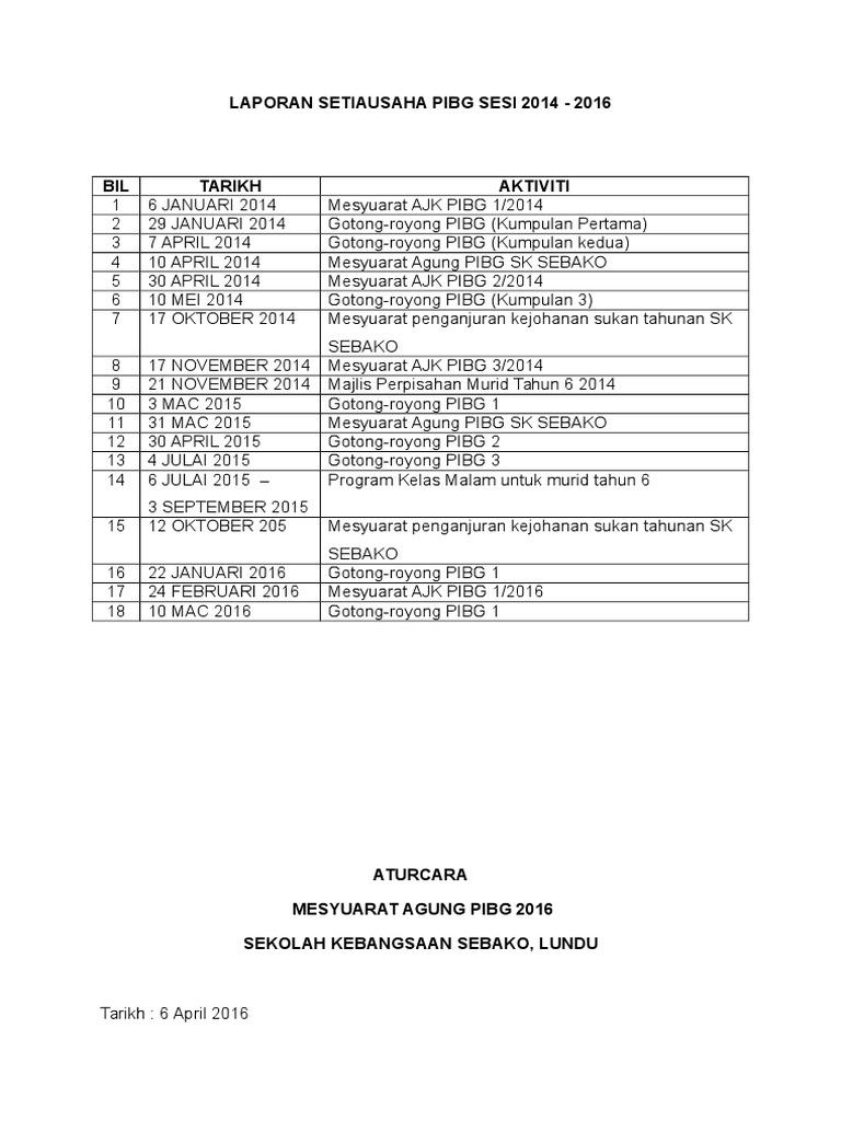 Contoh Laporan Setiausaha Mesyuarat Agung Pibg