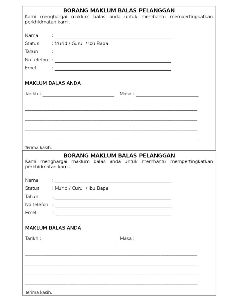 Borang Maklum Balas Pelanggan
