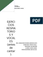 Ejercicios Respiratorios y Vocales