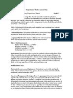 properties of matter lesson plan