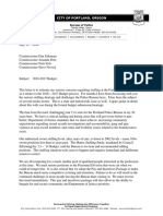 "Chief O""Dea's Budget Letter to Commissioners"