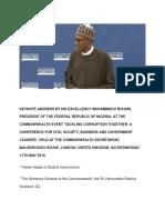 Keynote Address HE Muhammadu Buhari May 11 London
