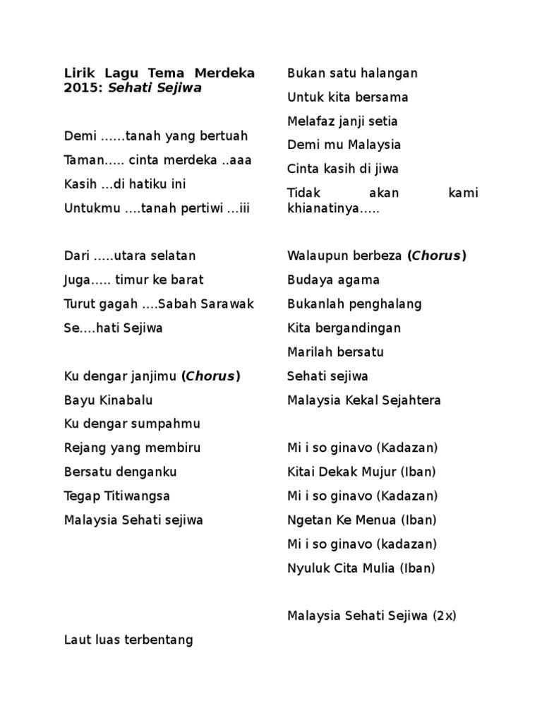 Lirik Lagu Tema Merdeka 2015