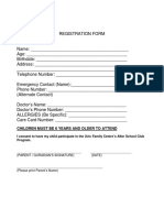 After School Program Registration Form