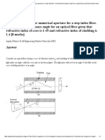 Derive the formula for numerical aperture for a step index fibre. Calculate the Acceptance angle for an optical fibre.pdf