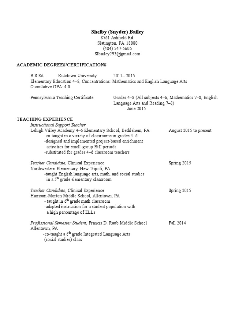 Teaching Resume Autosaved Pennsylvania Teachers