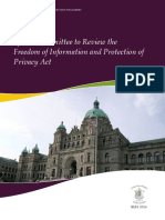 Report of the Special Committee to Review the Freedom of Information and Protection of Privacy Act