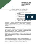 Disponibilidad y uso de las tecnologías de la información en los hogares 2009 - INEGI