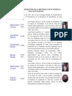 Lista de Los Presidentes de La República de Guatemala