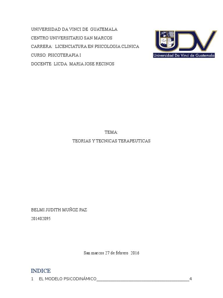 Teorias y Tecnicas Terapeuticas