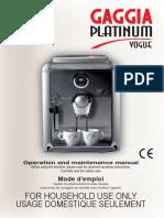 Gaggia Vogue Platinum User's Manual