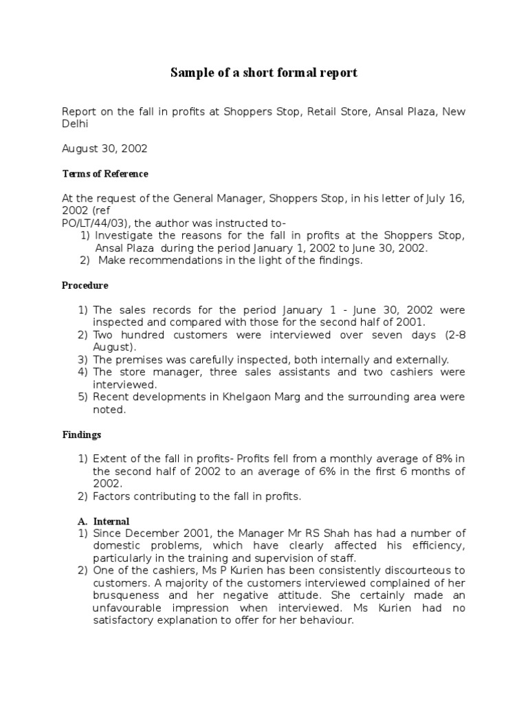 Sample Of A Short Formal Report Doc Business Marketing