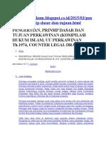Pengertian, Prinsip Dasar Dan Tujuan Perkawinan (Kompilasi Hukum Islam, Uu Perkawinan Th.1974, Counter Legal Draft)