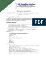 Syllabus de Matematicas