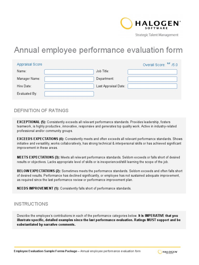 annual employee evaluation forms