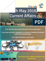 11 May 2016 Current Affair for Competition Exams