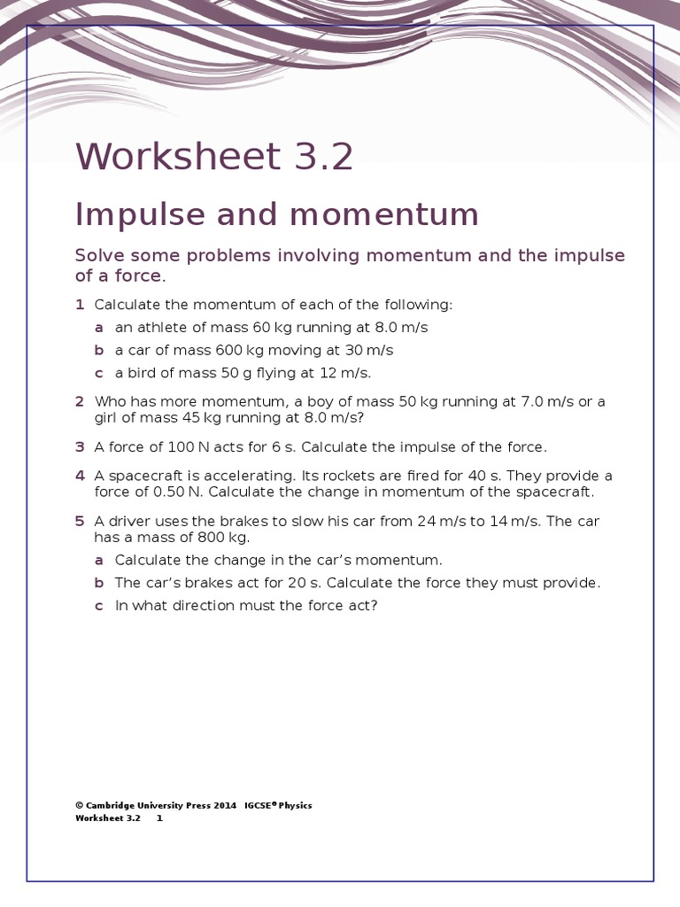 IGCSE Physics Worksheet 3.2