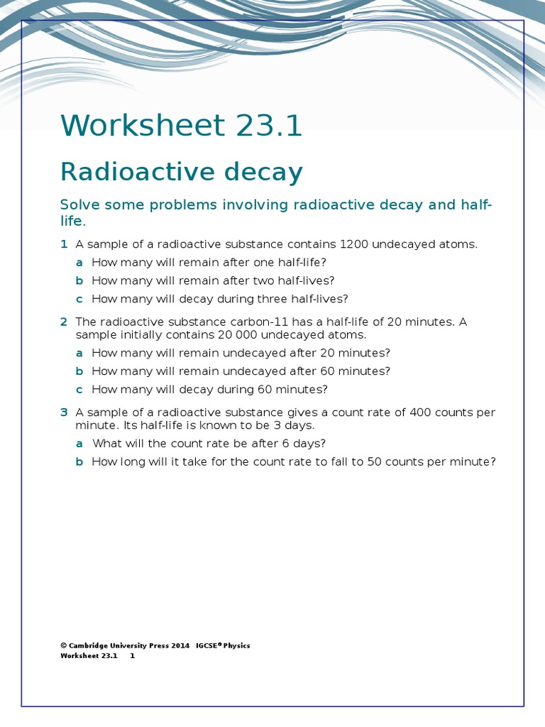 Radioactivity Worksheet Pixelpaperskin – Nuclear Decay Worksheet Answers